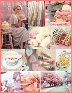romance, pinks, yellows, soft colors, bows, sweets
