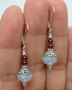 Details about beautiful handmade natural moonstone & ruby gem dangle / earring . - Details about beautiful handmade natural moonstone & ruby gemstone dangle / earrings - Beaded Earrings Patterns, Bead Earrings, Earrings Online, Diamond Earrings, Garnet Earrings, Crystal Earrings, Silver Earrings, Onyx Necklace, Diamond Stud