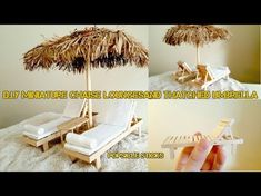 DIY Chaise Lounge and Thatched Umbrella! This chaise lounge and thatched umbrella, like always, made out of mostly popsicle sticks (coffee stir sticks). Beach Furniture, Barbie Furniture, Kids Furniture, Woodworking Furniture, Furniture Plans, Popsicle Stick Crafts, Popsicle Sticks, Craft Stick Crafts, Miniature Furniture