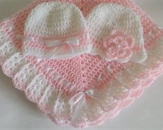 Items similar to Crochet Baby Blanket and Two Hats Pink White Christening Baby Girl Set Baptism Granny Square Handmade Crochet Baby Girl Set Shower Gift on Etsy Crochet Fabric, Crochet Bebe, Baby Girl Crochet, Crochet Baby Clothes, Baby Blanket Crochet, Baby Girl Blankets, Baby Afghans, Knitting For Kids, Crochet For Kids
