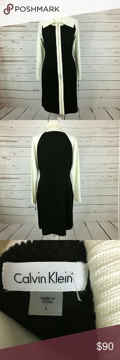 Calvin Klein NWT Color block Dress 294A3 Calvin Klein NWT Size Large Black and Cream Color Block Zipper Knit Dress $134 Calvin Klein Dresses Long Sleeve