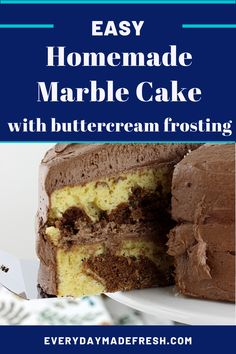 The Best Easy Marble Cake with Chocolate Buttercream Frosting is better than any bakery cake you can buy. A simple beginner recipe that uses only one cake batter! Marble Cake Recipes, Best Dessert Recipes, Fun Desserts, Holiday Recipes, Delicious Desserts, Plain Cake, Chocolate Buttercream Frosting, Christmas Breakfast, Bakery Cakes