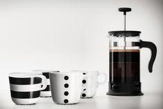 IKEA Kaffeegeschirr, z. B. UNGDOM Becher verschiedene Muster/weiß/schwarz