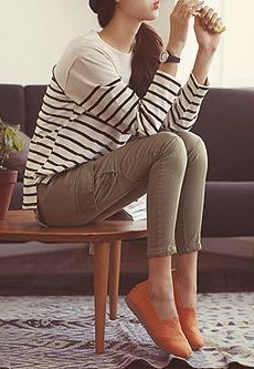 olive green pants and striped shirt