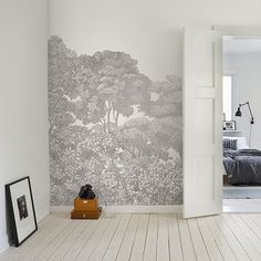 The Brand New Rebel Walls Bellewood Black Toile Mural from the Greenhouse Collection Decor, Scandinavian Wallpaper, Beautiful Interiors, Wall Murals, Mural Wallpaper, Home Decor, Interior Design Living Room, Interior Design, Home Wallpaper