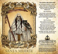 The Vodou Store Candle Label - Santa Muerte (To give gratitude) - A white candle should be used with this label. Witchcraft Spell Books, Wiccan Spell Book, Wiccan Spells, Magick, La Santa Muerte Tattoo, Santa Muerte Prayer, Mexico Day Of The Dead, Yellow Candles, Traditional Witchcraft