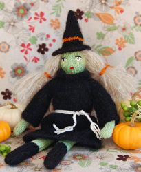 Knit Halloween Witch Doll