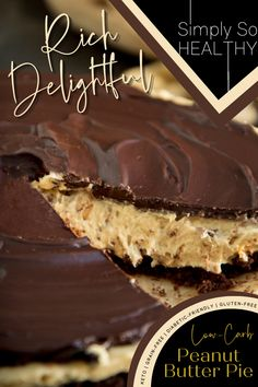 Make something special for yourself or for sharing with our delightful peanut butter pie recipe. This low carb pie recipe boasts a chocolate cookie crust and a rich fudge topping. This keto dessert recipe can be part of a diabetic, gluten-free, grain-free or Banting diet so it is one of the best dessert and snacks recipe to try. Follow us for more mouth-watering healthy snacks that you wont find elsewhere! #PeanutButterPieRecipe #PieRecipes #KetoDessertRecipes #LowCarbDessertRecipes
