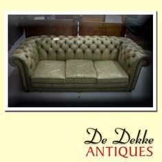 Looking for something with ageless beauty? Then what about this genuine #leather #antique couch. Selling for only R 23500.00. De Dekke Antiques, all about priceless memories. #chesterfield