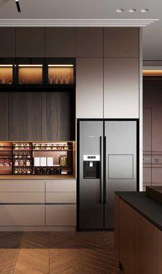 Modern Kitchen Interiors, Luxury Kitchen Design, Kitchen Room Design, Luxury Kitchens, Home Decor Kitchen, Interior Design Kitchen, Home Kitchens, Modern Kitchen Cabinets, Cuisines Design