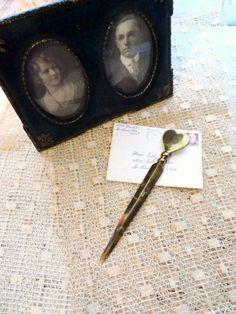 HEART SHAPED Solid Brass Letter Opener-Romantic Letter Knife-Vintage Desktop Collectible-Token of Love-Shabby Gift-Orphaned Treasure-120916U by OrphanedTreasure on Etsy