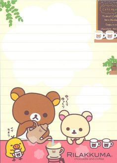 kawaii Rilakkuma in cafe Memo Pad bear coffee 5 Printable Scrapbook Paper, Printable Stickers, Planner Stickers, Kawaii Stationery, Stationery Paper, Rilakkuma Wallpaper, Cute Stationary, Cute Notes, Kawaii Drawings