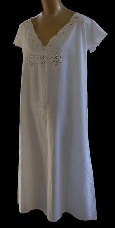 Vintage 1910s Edwardian Nightgown - Eyelet Scalloped Nightie - White Wear - Size XL Extra Large on Etsy, $74.99
