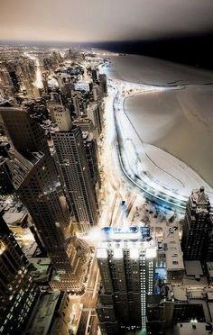Frozen Chicago.. Illinois, USA