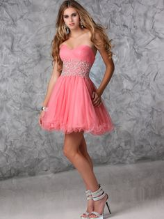 A-line Sweetheart Tulle Satin Short/Mini Pink Beading Prom Dresses at Msdressy