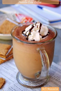 Nuttella Cold Coffee.1cup milk(I used 2%)1/4 cup crushed ice,1/2tsp.vanilla extract,1-1&1/2tsp.Instant coffee powder,4-5tsp.nutella,1/2-1tbsp.sugar to taste.Put in blender and blend until smoothe and frothy.
