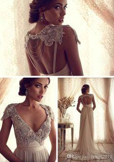 #sexy #prom #dresses Wholesale Sheath Wedding Dresses - Buy Newest Design Beading Dazzling Custom Sheath Wedding Dresses Gowns Dress V-Neck Short Sleeve Long Bridal Dresses Gowns Sexy Bride Dresses, $148.0 DHgate