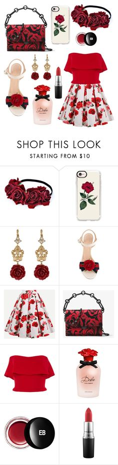 """""""A Kiss from a Rose🌹"""" by vanessa-giuliani on Polyvore featuring Casetify, Dolce&Gabbana, Gucci, Michael Kors, Reem Acra, Edward Bess and MAC Cosmetics"""