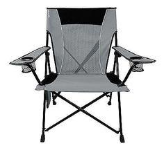 Camping Folding Chair Dual Lock Furniture Outdoor Portable Hallet Peak Gray Seat