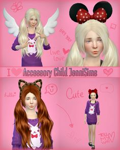 Jennisims: Downloads sims 4: REQUEST:Accessory sets Child (Bow,Minnie,kitty,Wings)