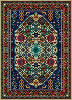 Gelim (23) Cross Stitch Borders, Cross Stitch Designs, Cross Stitching, Cross Stitch Patterns, Rug Patterns, Persian Carpet, Persian Rug, Palestinian Embroidery, Pixel Pattern