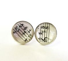 Music stud earrings silver musical earring studs by agatechristina, $12.00