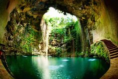 Cenotes in Yucatan Peninsula, Mexico...roughly 7,000 cenotes in Mexico, which are formed when limestone caves in, leaving a hole in the earth that leads to a spectacular pool that is often a gorgeous turquoise color.