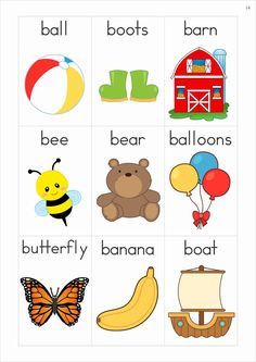 Phonics Letter of the Week Bb {FREE}. A HUGE unit (81 pages) with all that you need for a letter of the week curriculum. A page from the unit: Vocabulary cards (beginning sounds)
