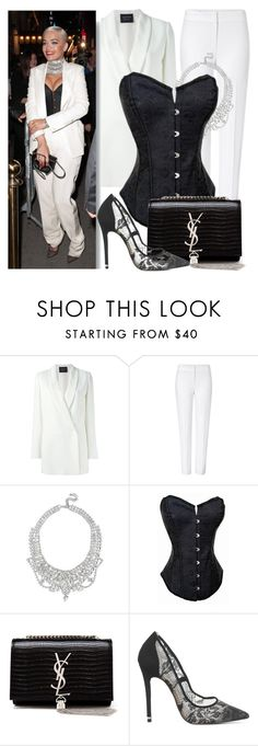 """""""Celebrity Look: Rita Ora"""" by atomic-jane ❤ liked on Polyvore featuring Lanvin, ESCADA, GUESS, Yves Saint Laurent, Office, celebrity, ritaora and CelebrityStyle"""