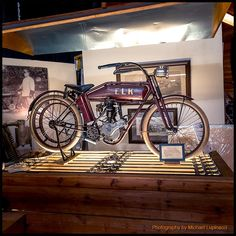 1914 ELK Motorcycle. 500cc pocket-valve engine and belt drive transmission.
