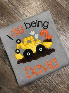 b2b134719 I dig being two, Birthday t-shirt, construction birthday party shirt,  little boy tee shirt, 2nd birthday tshirt, excavator applique