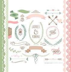 Laurels clipart, Ribbons, Wreaths, Banners, Boarders, Dividers, Arrows.