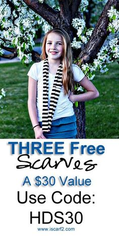 3 Free summer scarves. Use code HDS30 after you put 3 scarves in your cart and you'll get them for free. Just pay shipping! www.iscarf2.com