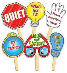 Teachers Friend These six classroom signs come with an easy-to-use wooden handle. The teacher silently raises the appropriate sign to direct students to the correct behavior. Kindergarten Classroom Decor, Classroom Signs, Classroom Behavior, Classroom Displays, Classroom Organization, In Kindergarten, Preschool Jobs, Classroom Control, Classroom Images