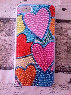 cover rigida con rilievo di perline per iphone 5/5s