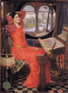 I Am Half-Sick of Shadows, Said The Lady Of Shalott by John William Waterhouse. Here's a link to the poem by Lord Tennyson: http://charon.sfsu.edu/tennyson/tennlady.html
