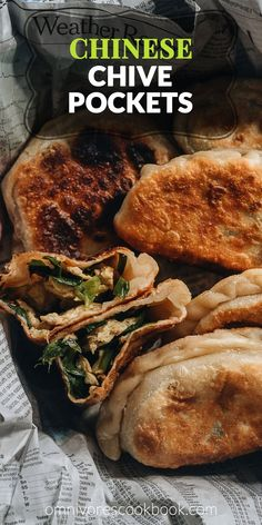 Chinese Chive Pockets - The super crispy and thin dough is stuffed with a hearty, savory filling made with Chinese chives and scrambled eggs. Chinese Egg, Best Chinese Food, Authentic Chinese Recipes, Korean Food, Yummy Appetizers, Appetizer Recipes, Potluck Recipes, Snack Recipes, Indian Food Recipes