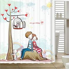 "Angelwings High-grade Couple happiness Pattern Shower Curtain 72"" X 72"""
