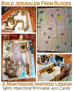 How to make a map of Jerusalem with blocks to teach your kids all about Holy Week and the Easter story! Also, there's a set of printable art cards of happenings around Jerusalem at the time of Jesus to match to the map. You could even use the art cards with a regular map of Jerusalem. :-)