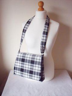 Black & White Tartan Messenger Bag, Cross body messenger / Shoulder Bag / Handbag FREE kilt pin brooch Menzies plaid Handmade in Scotland! by SewKura on Etsy https://www.etsy.com/listing/240045894/black-white-tartan-messenger-bag-cross