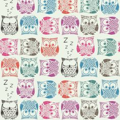 sherbet owls light fabric by scrummy on Spoonflower - custom fabric Pascale Sara F