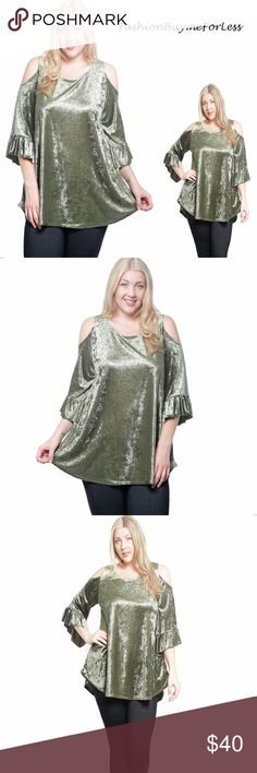 BOHO Gypsy Crushed Velvet Open Shoulder Tunic Top We accept Reasonable Offer...  True to U.S Plus Size  We love the French Crushed Velvet Swing Tunic top, Beautiful Elegant French Velvet, Gypsy Sexy Open Cold Shoulder, Renaissance 3/4 Frilled Ruffle Sleeve, Stretchy, Swing Length over hip. Just Beautiful...  Product ID: 1404006560032550025321 Buyme4Less Tops Tunics