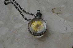 yellow necklace terrarium necklace real flowers by ZokaKurylov