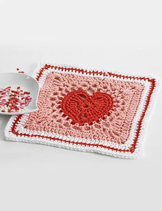 Heart Dishcloth - free crochet pattern