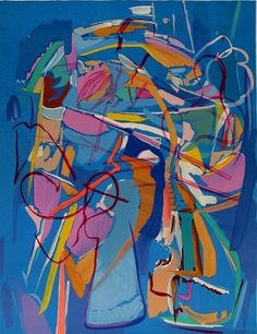 Abstract composition on a blue background (ca.1975) by André Lanskoy