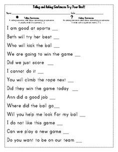 Telling Sentences Worksheets Free Worksheets Library | Download ...