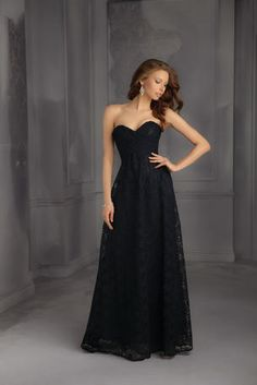 Mori Lee Bridesmaids - 702 this in navy would be perfect. Love that its elegant and has lace!