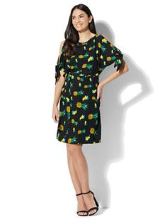 1c45b116d582 Shop Belted Cold-Shoulder Dress - Fruit Print. Find your perfect size  online at. New York   Company