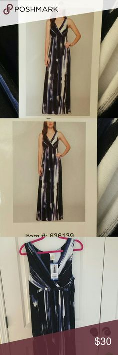 Maxi Dress Size L, blue/black/white, new with tags, excellent condition. . Stretch.V neck. Dresses Maxi