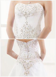 A-Line/Princess Sweetheart Chapel Train Organza Satin Wedding Dress With Embroidery Beading (002000387)